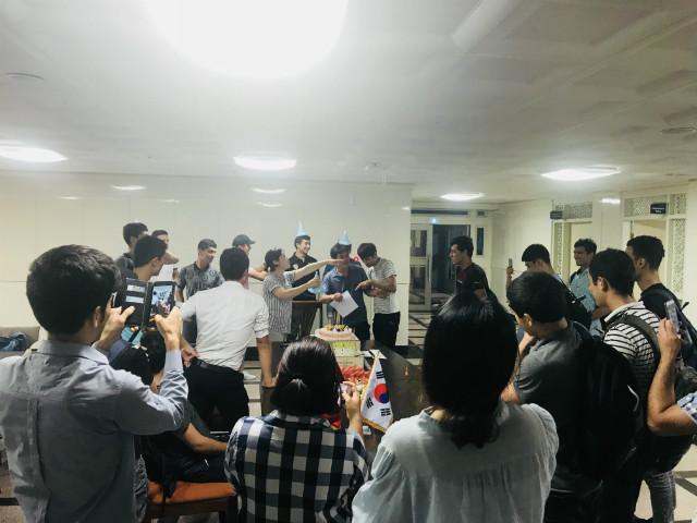 한국어학당 우즈베키스탄  8월 생일학생 파티
